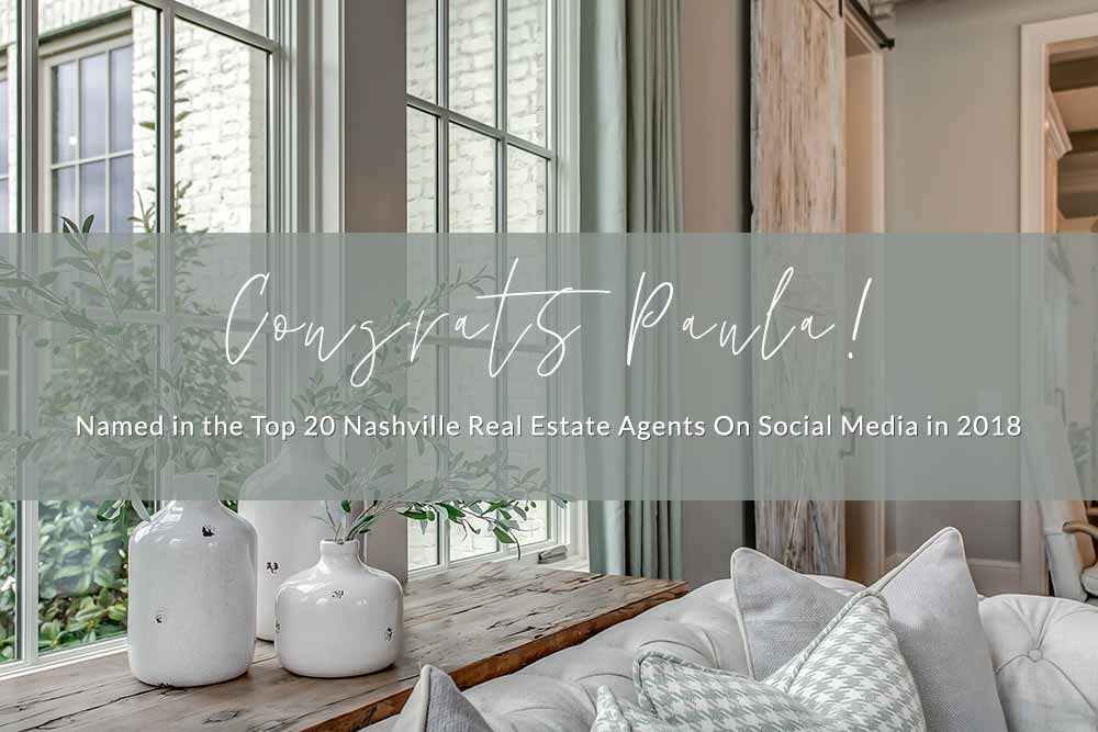 Congrats Paula, Top 20 Nashville Real Estate Agents on Social Media
