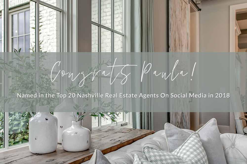 Congrats Paula, Top 20 Nashville Real Estate Agents on Social Media